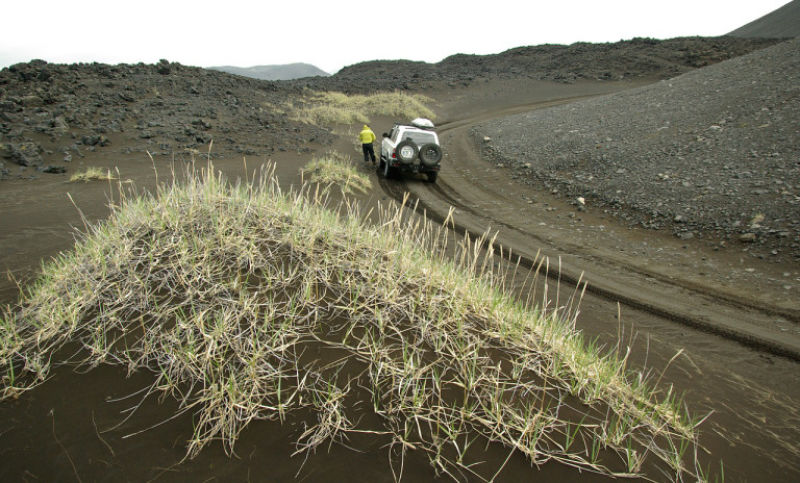 A vehicle traversing an Icelandic F road.