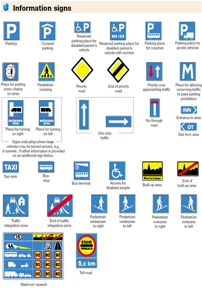 Iceland Traffic Signs - Information Signs