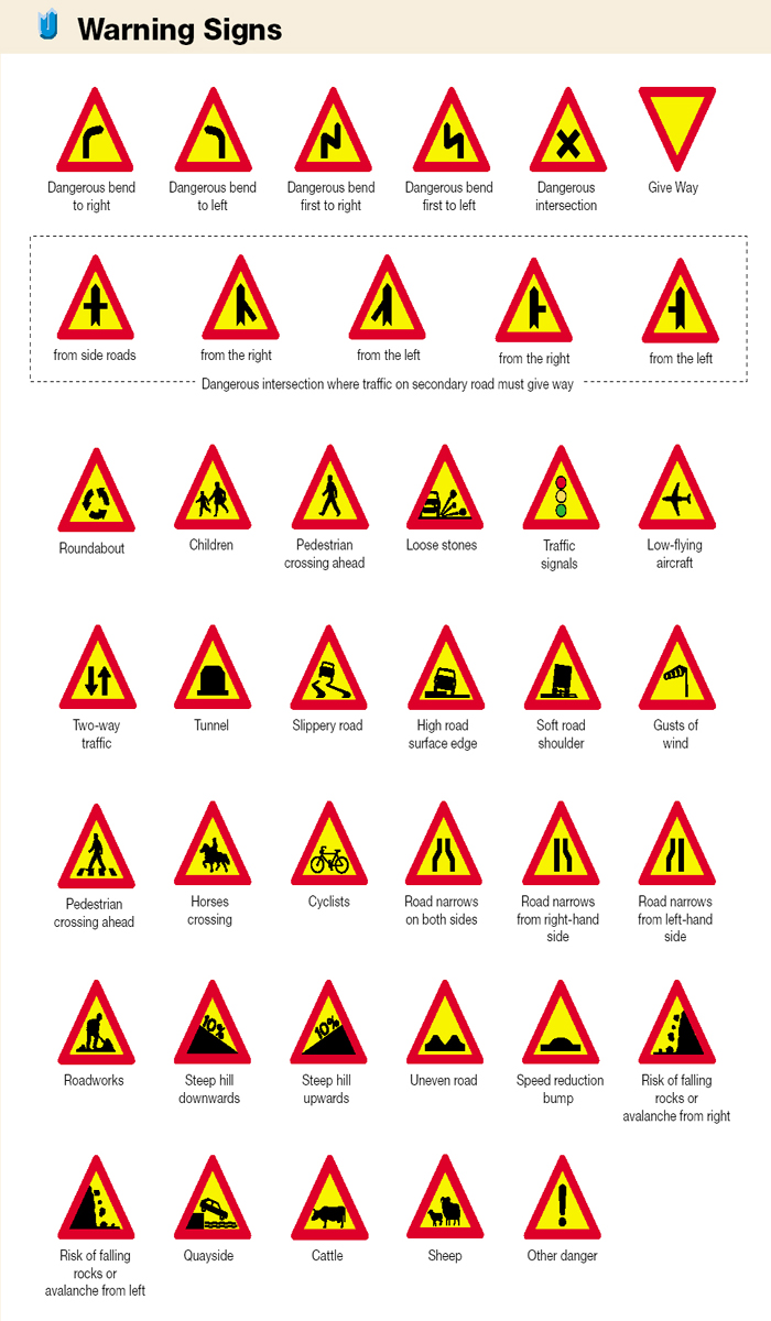Iceland Traffic Signs - Warning Signs