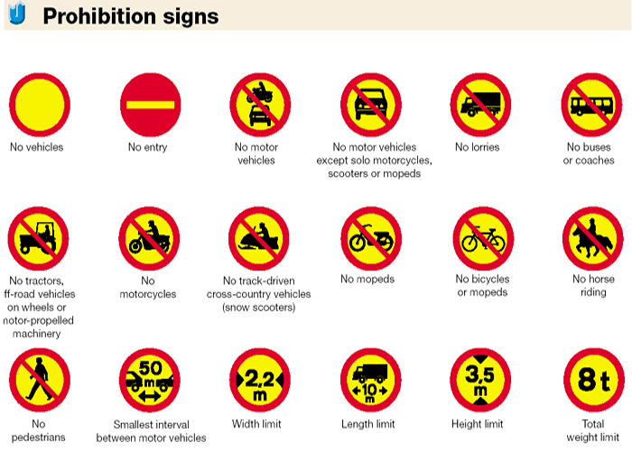 Iceland Traffic Signs - Prohibition Signs